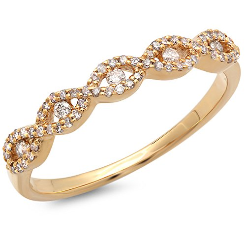 Dazzlingrock Collection 0.25 Carat (ctw) 14K Round Diamond Ladies Bridal Stackable Anniversary Wedding Band Swirl Ring 1/4 CT, Yellow Gold, Size 7