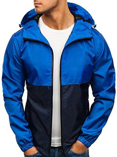 Chaqueta 4D4 BOLF Cierre azul De Oscuro Alto Hombre Acolchada Motivo Entretiempo Azul Cremallera Cuello De hs07 5X5nFrHqx