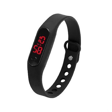 Culater® Caucho LED Unisex Fecha Deportes pulsera reloj de pulsera digital (Negro)