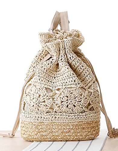 Shoulder Travel Beach Backpack Weave Bag Beige Straw Women's Vintage nXYx6Yq