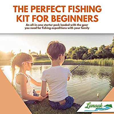 Lanaak Kids Fishing Rod & Reel Combo Kit with Tackle Box, Minnow Net, Travel Bag and Starter Guide (47 Pieces)