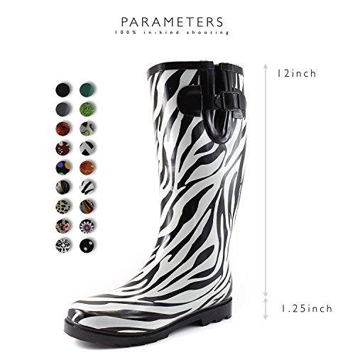 Women's Calf Color Puddles Knee Zebra Multi and Boot Rain High Waterproof Rainboots Mid Snow rqrnAWRg