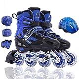 AALHM Skates Adjustable Children's Full Suite Skates Inline Skates Teachers Luminous 3/6/7/10 Years Old Wear Resistant (Color : BlueA, Size : M)