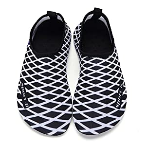 DKRUCAK Girls Boys Water Shoes Lightweight Quick-Dry Barefoot Aqua Socks Shoes For Lawn Pool Dance (8-8.5 M US Toddler= 24-25 EU, Black White)