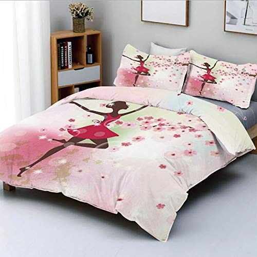 Duplex Print Duvet Cover Set Twin Size,Ballet Butterfly Fairy Ballerina Princess Dancer Flowers Tree Branch Floral Girls Party Print DecorativeDecorative 3 Piece Bedding Set with 2 Pillow Sham,Best G]()
