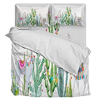Image of 4 Piece Bedding Sets Duvet Cover Twin, Ultra Silky Soft Bedding Collection- White Llama and Cactus Watercolor Painting with Zipper Closure and Corner Ties Home and Kitchen