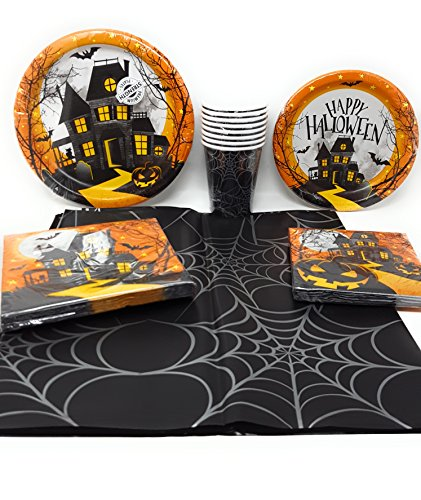 Disposable-Plates-Napkins-Cups-Tablecloth-Halloween-Haunted-Hill-Themed-Party-Supplies-6-Piece-Bundle