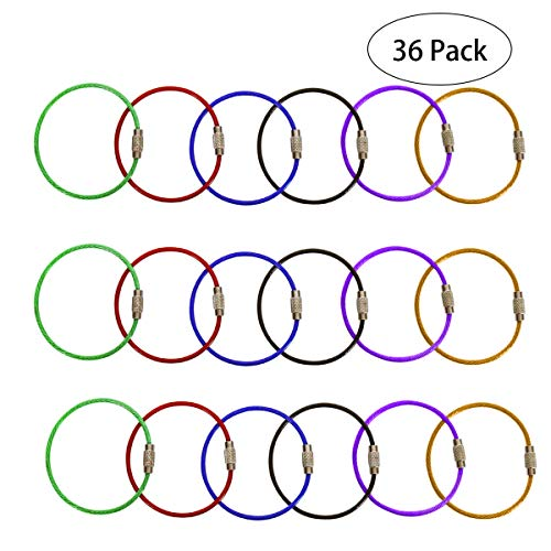SBYURE 36 Pack of 6 Inches,Stainless Steel Wire Keychains 1.5 mm Cable Key Rings String Twist Barrel for Hanging Luggage Tag,ID Tag Keepers