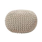 Modern Knitted Round Pouf Ottoman Soft Cotton Beige 20-inch Conrad
