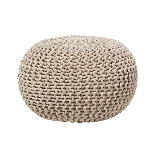 Modern Knitted Round Pouf Ottoman Soft Cotton Beige 20-inch Conrad by Beliani
