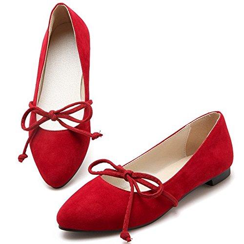 Coolcept Dames Platte Pumps Suede Mary Janes Balletschoenen Rood