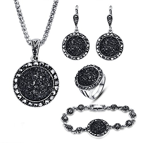 - Women's Jewelry Set, Fashionable Black Circular Stone Ring Earring Ring Necklace Suit (Black)