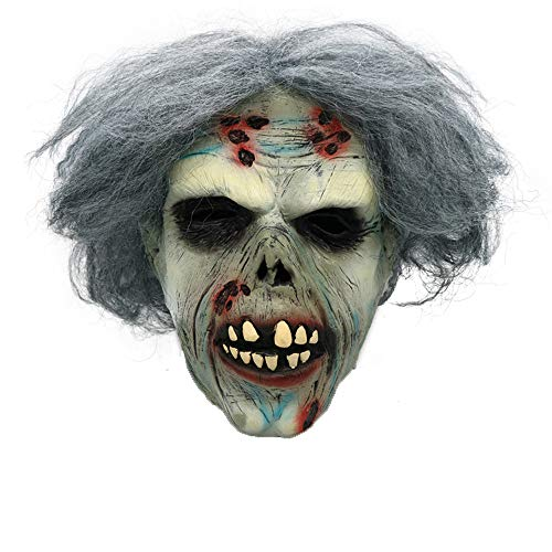 Halloween Zombie Mask Men's Decaying Zombie Mask with Hair Natural Latex Horror Mask, Visibility & Breathability, TLT Retail]()