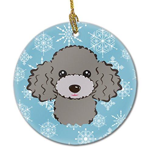 Caroline's Treasures BB1693CO1 Snowflake Silver Gray Poodle Ceramic Ornament, Multicolor -