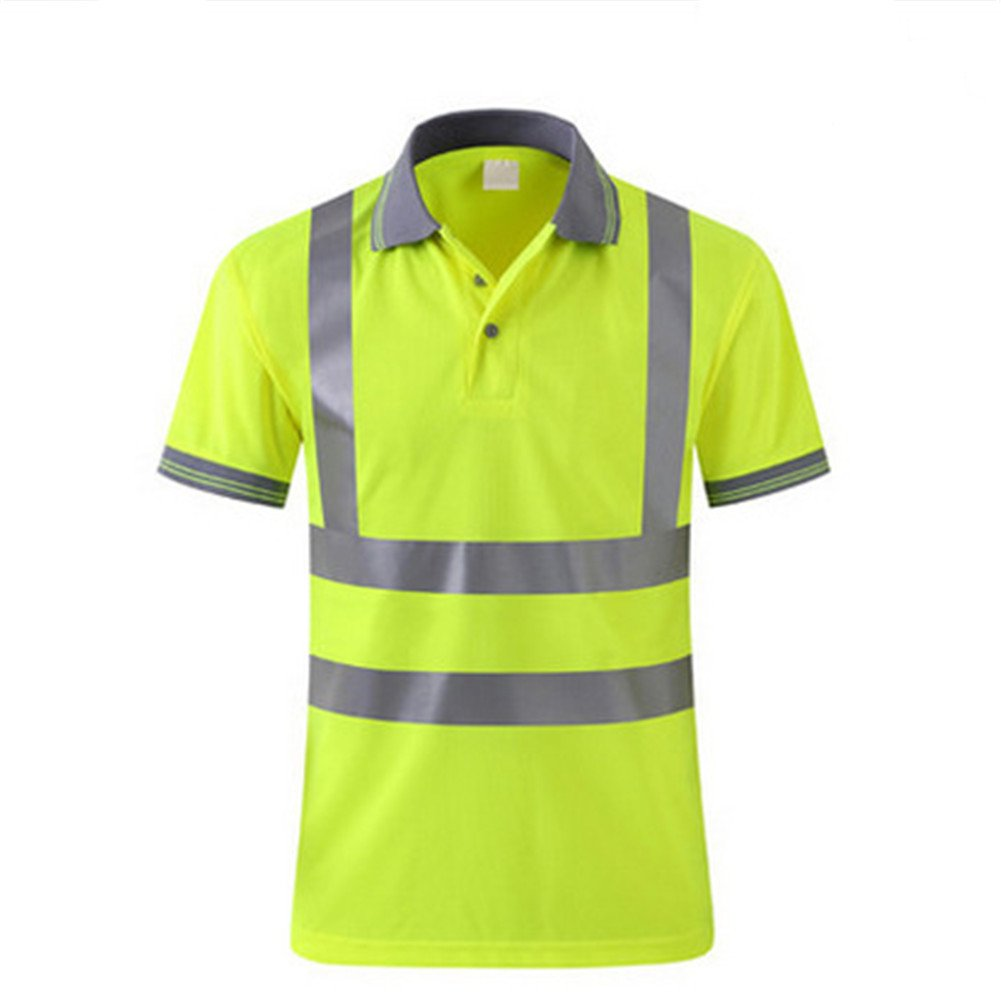 GanDecor Reflective Polo Shirt Safety Top Quick Dry High Visibility Short Sleeve