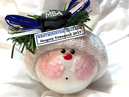 MBA Graduation Christmas Ornaments Cap Personalized School Tag Sample Personalized Hand Painted Handmade and Themed by Townsend Custom Gifts - 935 (Custom Graduation Caps)
