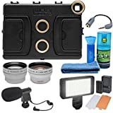 Melamount MM-IPAD PRO 9.7 Video Stabilizer Pro Multimedia Rig for Apple iPad PRO 9.7 with LED Video Light + Microphone + Tele/WideLens Kit