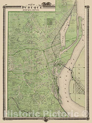 - Historic Map | 1875 Plan of Dubuque, Dubuque County, State of Iowa. | Vintage Wall Art | 44in x 58in