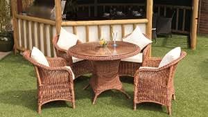 Sicilia Java Honey 4 Seater Dining Set
