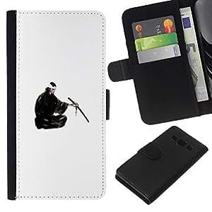 JackGot ( Japanese Samurai ) Samsung Galaxy A3 la tarjeta de Crédito Slots PU Funda de cuero Monedero caso cubierta de piel