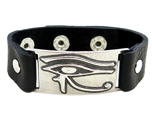 Horus Eye Bracelet, Black Leather, Adjustable