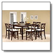 9pc Cappuccino Wood Counter Height Dining Table & 8 Chairs Set