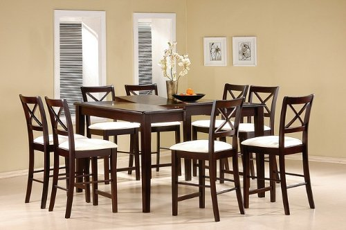(9pc Cappuccino Wood Counter Height Dining Table & 8 Chairs Set)