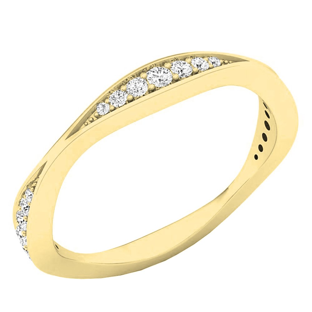 0.20 Carat (ctw) 14K Yellow Gold Round Diamond Ladies Anniversary Wedding Band 1/5 CT (Size 6.5)