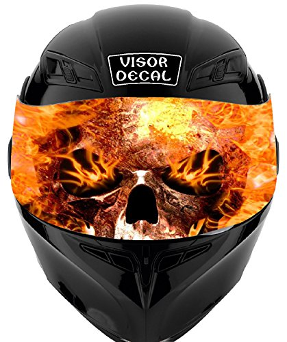 V28 Skull Flames VISOR TINT DECAL Graphic Sticker Helmet Fits: Icon Shoei Bell HJC Oneal Scorpion AGV ()