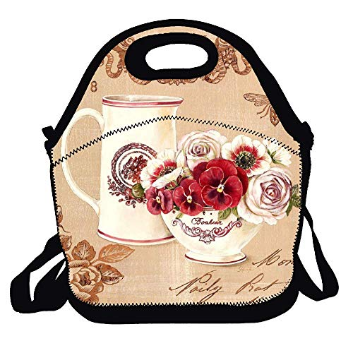(Amuseds Retro Vintage Red Vase Tulip Flower -1 Pattern Reusable Ziplock Crossbody Picnic Bag Design For Office Portable Lunch Box Cooler Back To School Lunch Bag Lunch Tote Bag Box For Boys Girls )