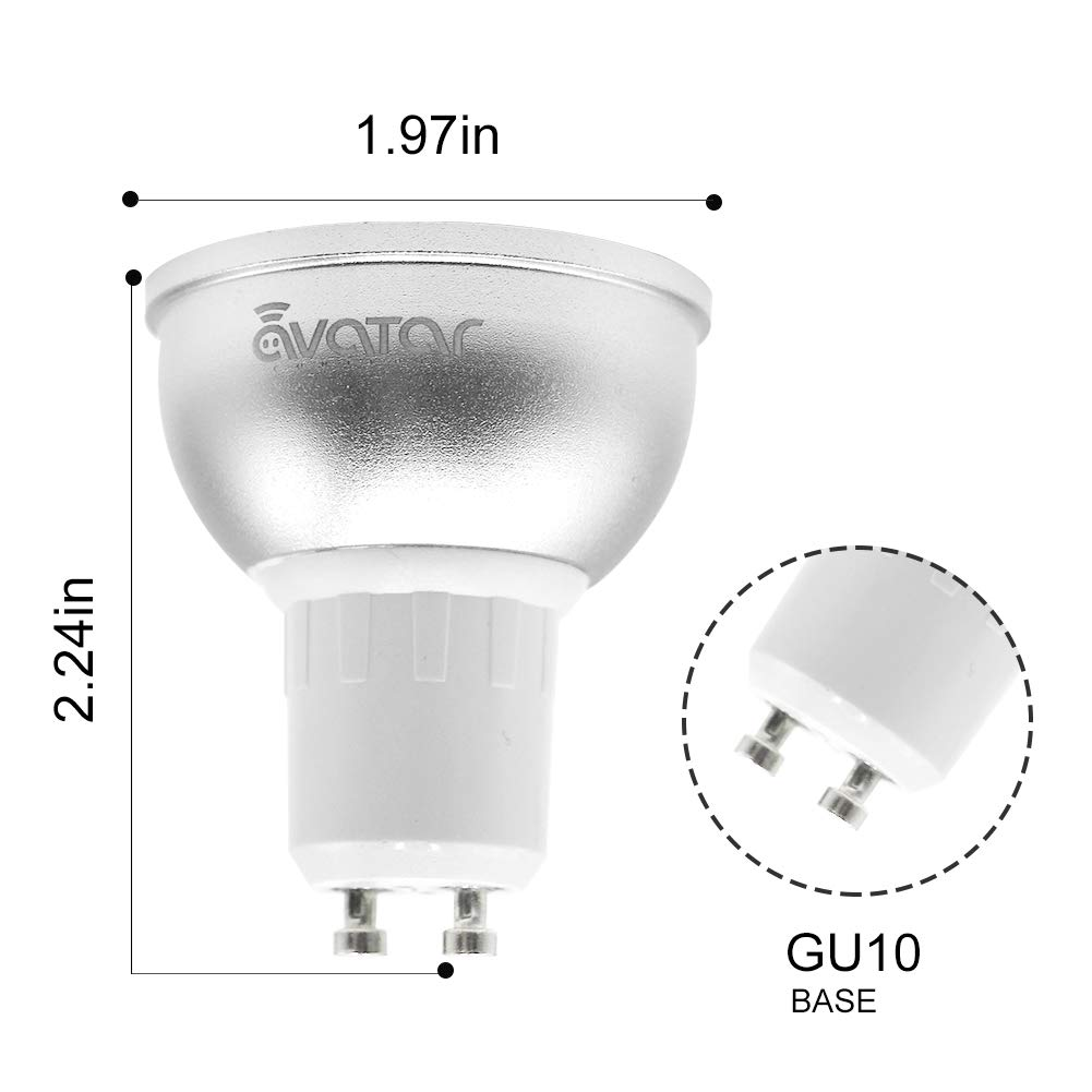 GU10 Bombilla Wifi Inteligente, Avatar Controls Inalambrica Dimmable 5w RGB LED Lámpara Control Remoto Compatible con Google Assistant / IFTTT (1): ...