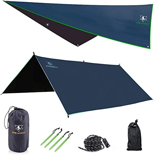 pys Hammock Rain Fly – Waterproof Tent Trap Camping Backpacking Survival Shelter by Premium Lightweight Ripstop Fabric, Fast Set Up, Stakes and Ropes Included for Hiking, Travel