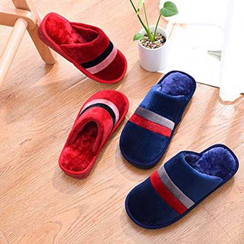 Slipper Winter YUENA Toe Couple Blue Indoor Shoes Closed CARE House Slippers Warm gHnqZ