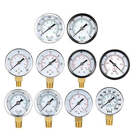 Manometro a doppia scala da 5,1 cm per compressore daria olio 76,2 cm Hg Vacuum//Kpa gas 1//4 NPT montaggio inferiore MF precisione 4//3//4/% acqua