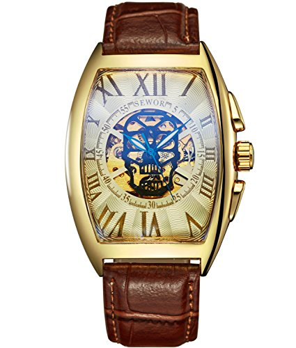 SEWOR Mens Automatic Business Dress Tonneau Skull Skeleton Wrist Watch Mechanical Self Wind (Gold White) (Dress Mens Automatic Watch Jewel)