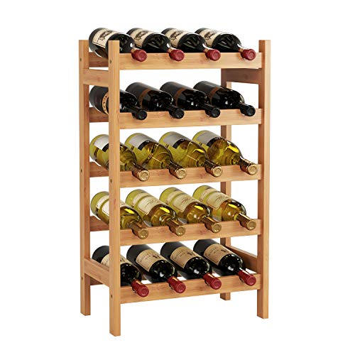 HOMECHO Bamboo Wine Rack with 5-Tier Storage Shelf 20 Bottles Display Stand Shelves Free Standing Wobble-Free Natural Color HMC-BA-002 (Wine Shelf Rack)