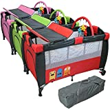 Monsieur Bébé Lit parapluie 60 cm x 120 cm + matelas + table à langer + jouets + hamac - 3 coloris - Norme NF EN716-1+A1