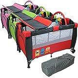 Monsieur Bébé ® Baby bed, Travel cot portable 60 cm x 120 cm + mattres + changing table + toys + hammock - Three colors - Standard NF EN716-1+A1