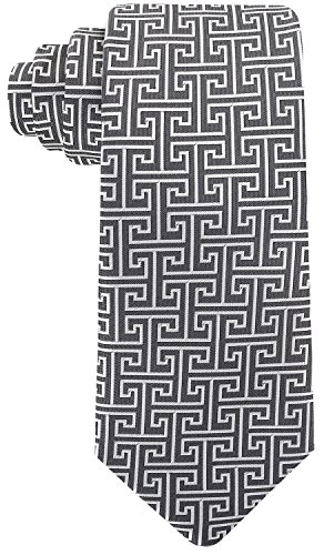 Geometric Greek Key Ties for Men - Woven Necktie - Gray w/Silver -