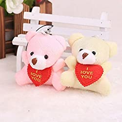 2 Pieces Colorful Sweet I LOVE YOU Sitting Bear With Red Heart Baby Plush Toys,For Wediing House Car Decoration,(Random Color)