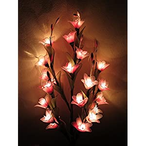 Thai Orchid Artificial Flowers Lamps, Vase/floor/table Lamps, Night Light, Wedding Lighting, Home Decor, Gift, Made By Nylon, Paper, Fabric, 20 Light Bulbs, 33 Inch