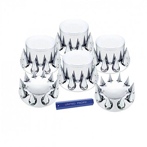 Chrome Semi Truck Front & Rear Axle Cover SET w/ Hub Cap 33 mm Spike Lug (Front Lug Nut)