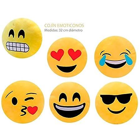 Lote de 6 Cojínes Emoticonos - Cojines Emoticonos Emoji Comprar Baratos Online - Regalos y Detalles para Cumpleaños, Recuerdos Comuniones