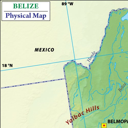 Amazoncom Belize Physical Map 36 W x 36 H Office Products