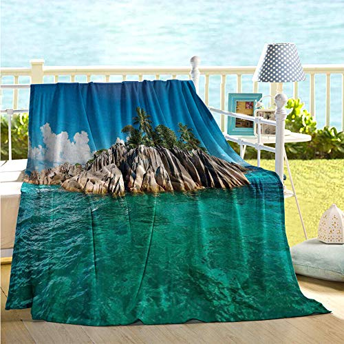 - maisi Island Printing Blanket St. Pierre Island at Seychelles Natural Granite Relaxation Mediterranean Plush Throw Blanket Jade Green Blue Tan