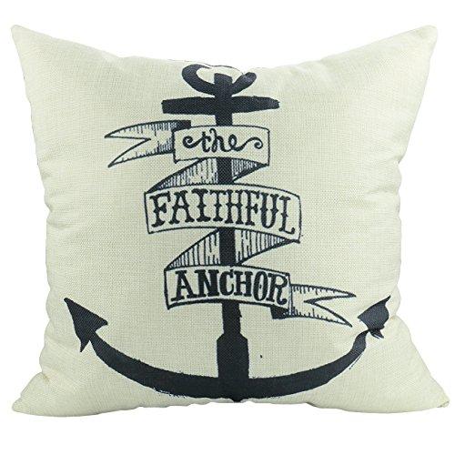 Luxbon - The Faithful Anchor Cotton Linen Sofa Chair Seat Throw Pillow Case Cushion Cover 18 x 18