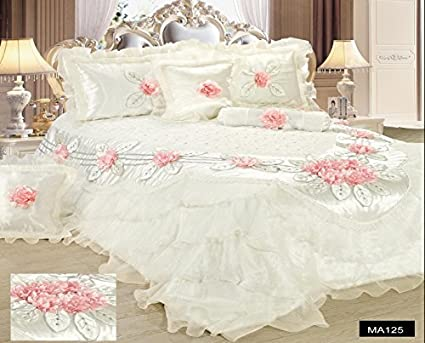 eb39ae96ed Image Unavailable. Image not available for. Color: Tache Home Fashion  MA125-K Tache 6 Piece Floral Delicate Rose Pink White Luxurious Comforter