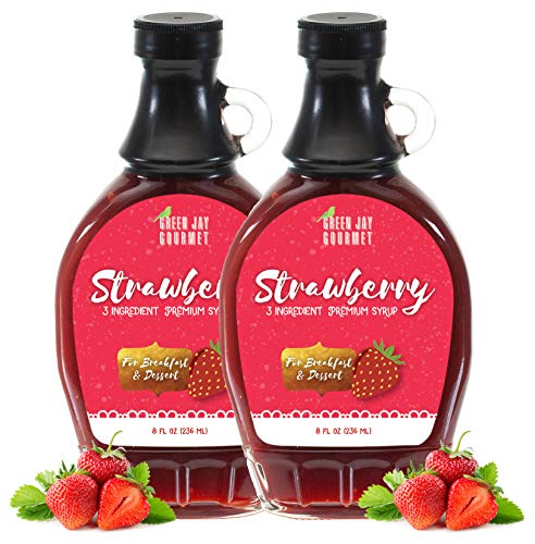 Green Jay Gourmet Strawberry Syrup - 3 Ingredient Premium Breakfast Syrup with Fresh Strawberries, Cane Sugar, Lemon Juice - All-Natural, Non-GMO Pancake Syrup, Waffle Syrup, Dessert Syrup - 16 Ounces