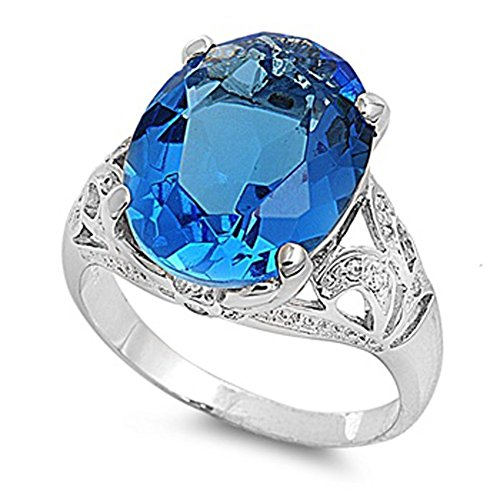 Women's Large Simulated Aquamarine Wholesale Ring .925 Sterling Silver Band Size 9 (Large Aquamarine Ring)