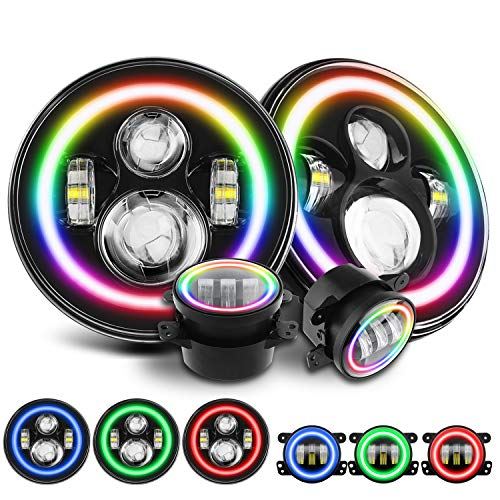 SUNPIE RGB Sequential Halo Headlights Fog Lights Kit | Color Changing Combo with Chasing LED Halo Ring for Jeep Wrangler JK JKU 2007-2018